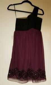 One strap purple and black dress